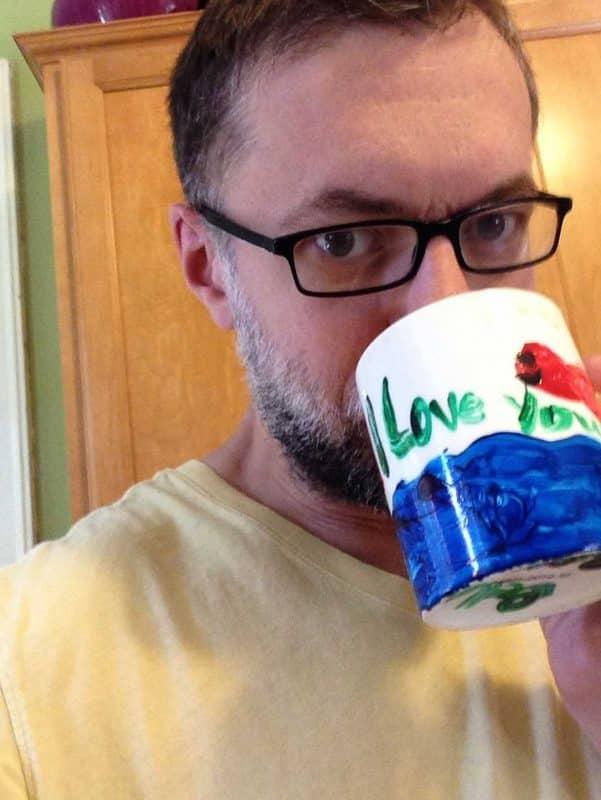 Zach Stier drinking coffee