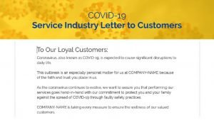 COVID19 Crisis | Letter to Customers