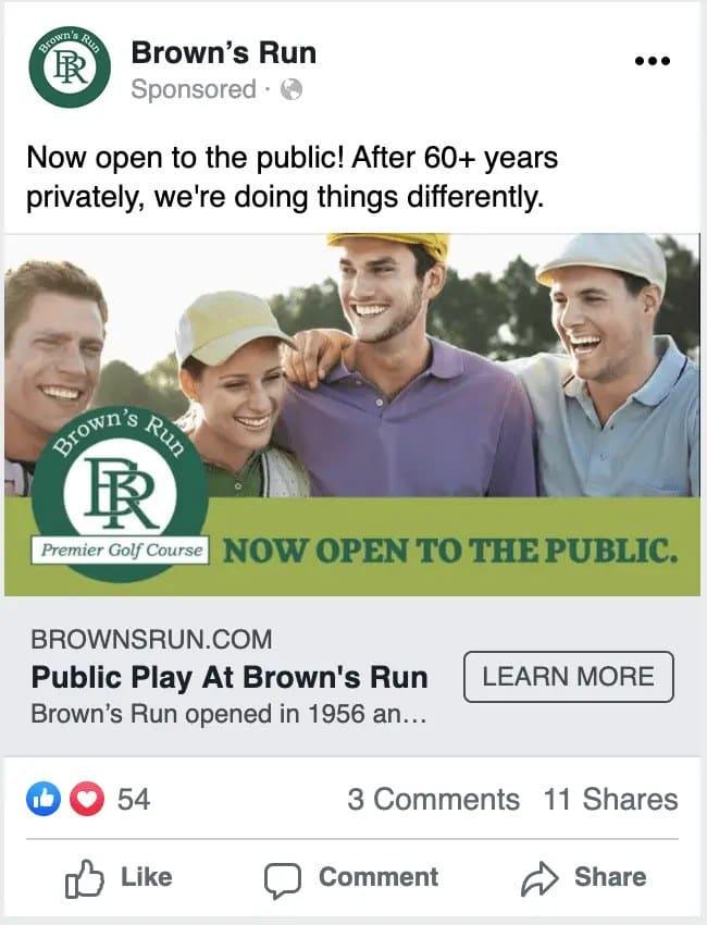 Brown's Run facebook ad