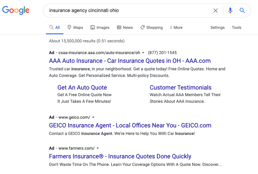Google Paid Results PPC Ads
