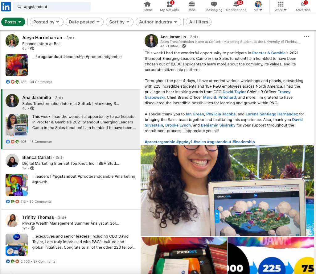 LinkedIn feedback on P&G StandOut