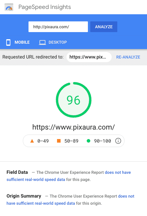 Pixaura site speed as tested by Google Page Insights